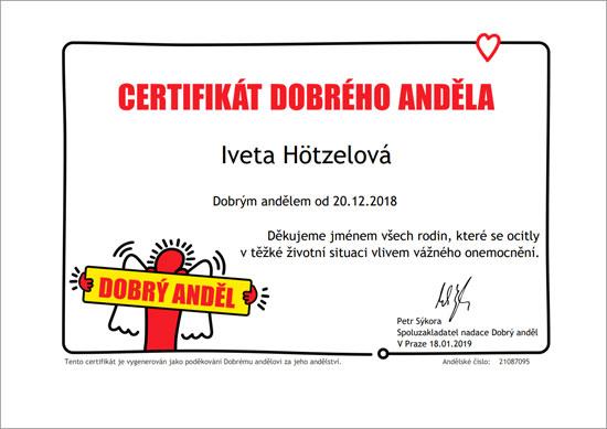 Certifikát dobrého anděla pro Ivetu Hötzelovou